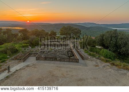 Sunset View Of Ancient Ruins In Tzipori National Park, And Landscape, Northern Israel