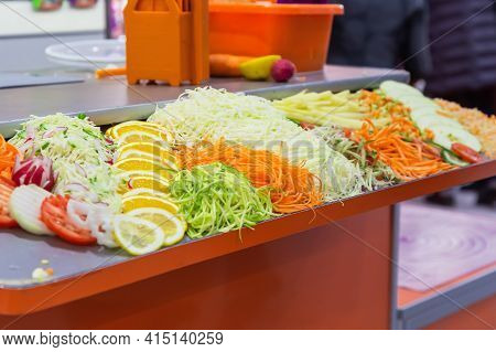 Fresh Raw Chopped Chopped Grated Vegetables And Fruits Tomato Radish Onion Cabbage Cucumber Carrots