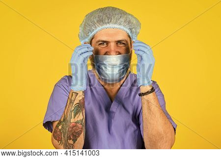 Good News. Nurse In Respirator Mask. Medical Worker Ready For Vaccination. New Virus Immunity. Coron