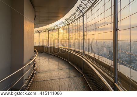 Walkway Of Observation Deck Revolving 360 Viewpoints On Tower Rooftop, Bangkok Urban City Skyline Vi