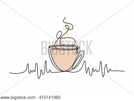 Abstract Icon With Line Coffee. Continuous One Line Drawing. Vector Hand Drawing.