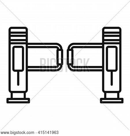 Turnstile Barrier Icon. Outline Turnstile Barrier Vector Icon For Web Design Isolated On White Backg