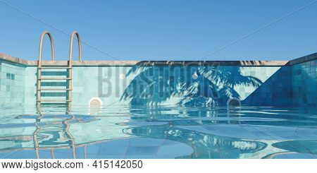 Swimming Pool With Rusty Stairs Filling With Clear Sky And Palm Tree Shade. 3d Render