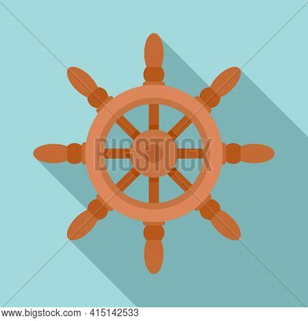 Sailboat Ship Wheel Icon. Flat Illustration Of Sailboat Ship Wheel Vector Icon For Web Design