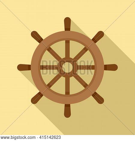 Navigation Ship Wheel Icon. Flat Illustration Of Navigation Ship Wheel Vector Icon For Web Design