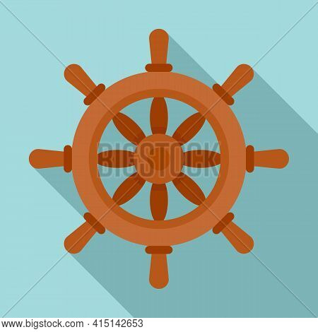 Vessel Ship Wheel Icon. Flat Illustration Of Vessel Ship Wheel Vector Icon For Web Design