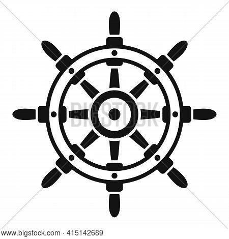 Ship Wheel Controller Icon. Simple Illustration Of Ship Wheel Controller Vector Icon For Web Design