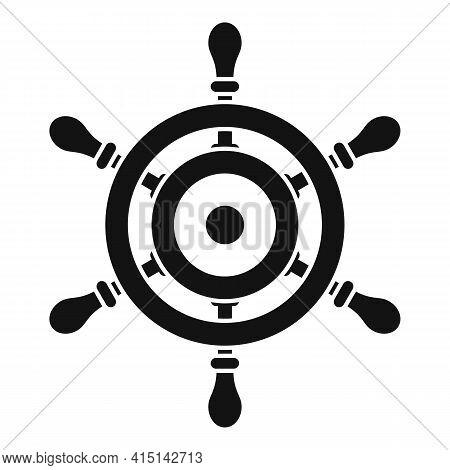 Marine Ship Wheel Icon. Simple Illustration Of Marine Ship Wheel Vector Icon For Web Design Isolated