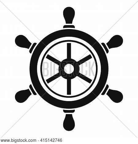 Navy Ship Wheel Icon. Simple Illustration Of Navy Ship Wheel Vector Icon For Web Design Isolated On