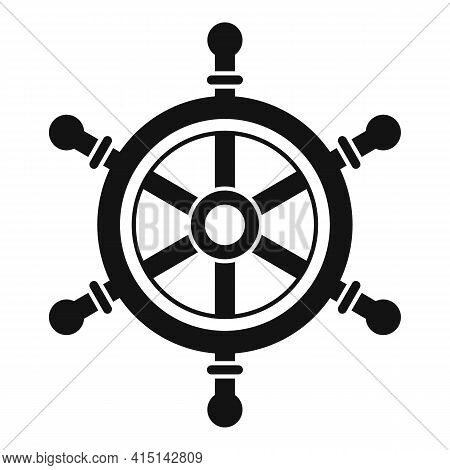 Helm Ship Wheel Icon. Simple Illustration Of Helm Ship Wheel Vector Icon For Web Design Isolated On