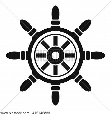 Sailboat Ship Wheel Icon. Simple Illustration Of Sailboat Ship Wheel Vector Icon For Web Design Isol