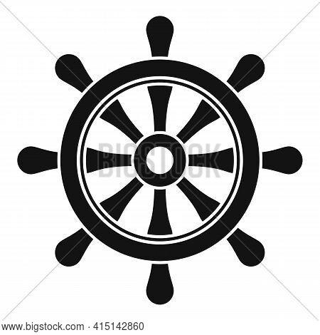 Nautical Ship Wheel Icon. Simple Illustration Of Nautical Ship Wheel Vector Icon For Web Design Isol