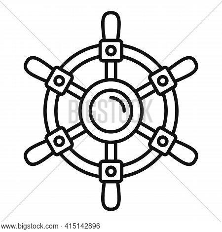Ship Wheel Controller Icon. Outline Ship Wheel Controller Vector Icon For Web Design Isolated On Whi
