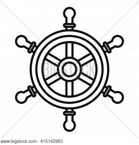 Helm Ship Wheel Icon. Outline Helm Ship Wheel Vector Icon For Web Design Isolated On White Backgroun