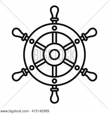 Adventure Ship Wheel Icon. Outline Adventure Ship Wheel Vector Icon For Web Design Isolated On White