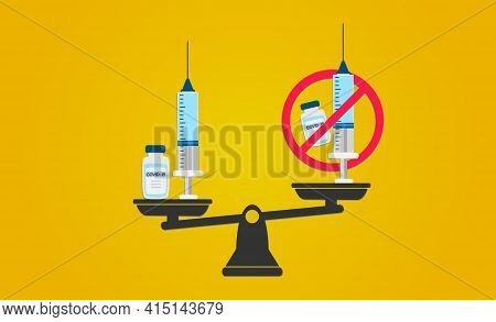 Vaccination Or Anti-vaccination Balance Concept. Balance Vaccination And Anti-vaccination.