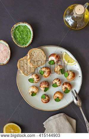 Escargots De Bourgogne. Snails With Herbs Butter. Healty Eating. French Food.