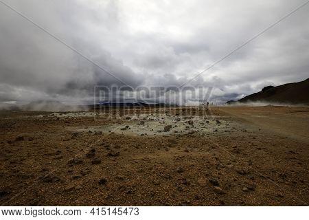 Hverir / Iceland - August 30, 2017: Hverir Geothermal And Sulfur Area Near Namafjall Mountain, Myvat