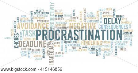Procrastination and a Lazy Procrastinator Concept Abstract Background