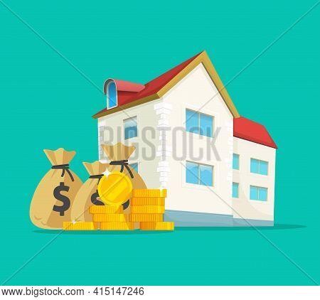 Real Estate Business Money Income Vector Concept Or House Building Expensive Taxes Idea Flat Cartoon
