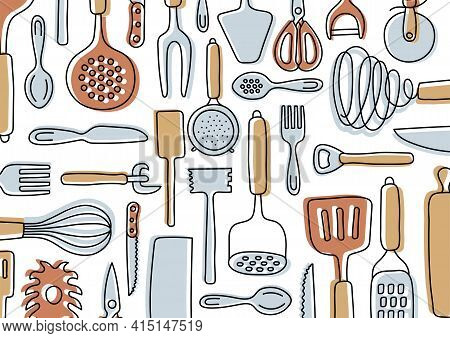 Kitchen Knolling. Kitchenware Sketch Set. Doodle Line Vector Utensils, Tools And Cutlery. Spatula, S