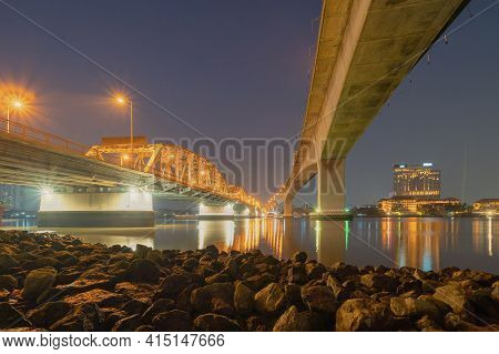 Rama 3 Bridge And Chao Phraya River In Structure Of Suspension Architecture Concept, Urban City, Ban