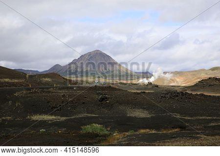 Myvatn / Iceland - August 30, 2017: Landscape Near Lake Myvatn Area, Iceland, Europe