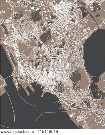 Map Of The City Of Cagliari, Sardinia, Italy