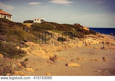 Camper On Mediterranean Coast, Beach Torrecarbonera, Punta Mala, Alcaidesa, Spain. Vacation And Adve