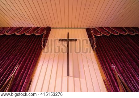 Interior Of Empty Christian Church With Cross, Architecture Design. Religious Beliefs. Catholic Reli