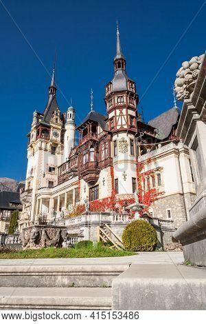 Bsinaia, Prahova, Romania, October 2015: Beautiful Famous Peles Royal Castle And Ornamental Garden I