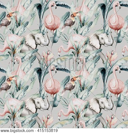 Tropical Seamless Pattern With Flamingo. Watercolor Tropic Drawing, Rose Bird And Greenery Palm Tree