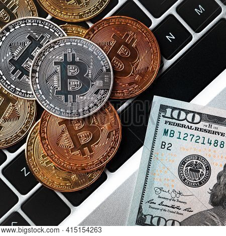 Business Top View Design Concept Of Bitcoin With Usd Dollar Paper Currency On Laptop.