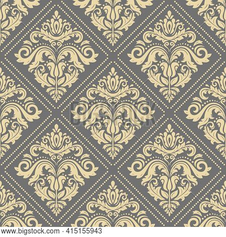Classic Seamless Pattern. Damask Orient Ornament. Classic Vintage Golden Background. Orient Ornament