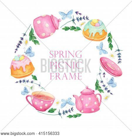 Picnic Round Background. Watercolor Dessert Wreath Pink Teapot, Cup