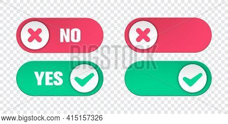Yes And No Toggle Switch Buttons Isolated