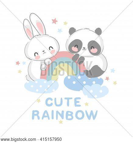 Cute Panda Bear And Bunny Vector Illustration Hand Drawn Panda And Rabbit With Rainbow Sweet Design