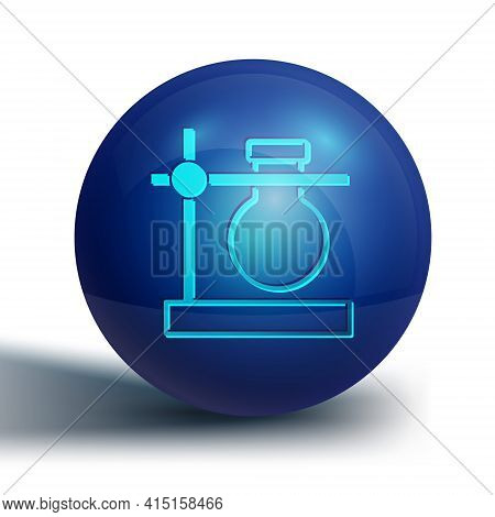 Blue Glass Test Tube Flask On Stand Icon Isolated On White Background. Laboratory Equipment. Blue Ci