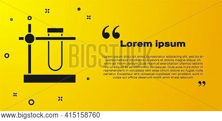 Black Glass Test Tube Flask On Stand Icon Isolated On Yellow Background. Laboratory Equipment. Vecto