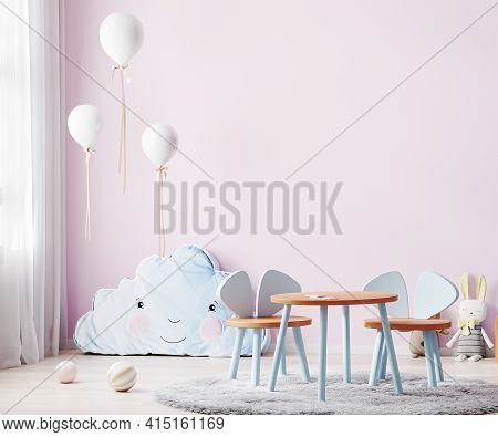 Children Playroom With Pink Wall And Kids Table, Children Room Interior Mock Up With Soft Toys And B