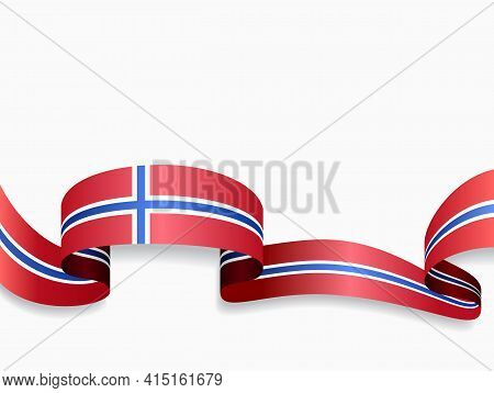 Norwegian Flag Wavy Abstract Background. Vector Illustration.