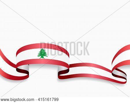 Lebanese Flag Wavy Abstract Background. Vector Illustration.