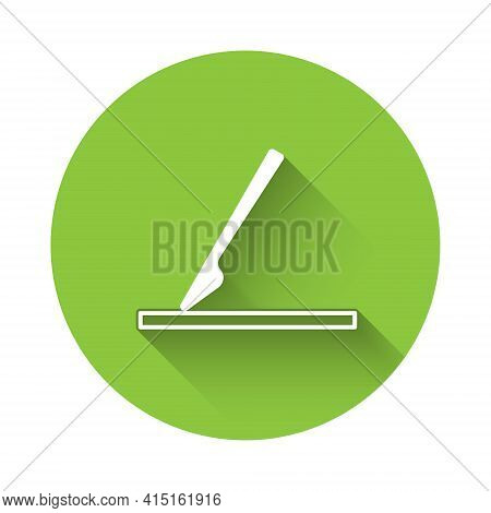White Medical Surgery Scalpel Tool Icon Isolated With Long Shadow. Medical Instrument. Green Circle