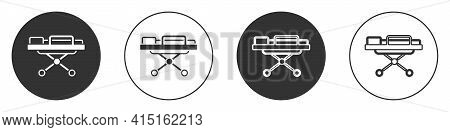 Black Stretcher Icon Isolated On White Background. Patient Hospital Medical Stretcher. Circle Button