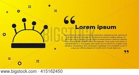 Black Needle Bed And Needles Icon Isolated On Yellow Background. Handmade And Sewing Theme. Vector