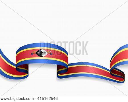 Eswatini Flag Wavy Abstract Background. Vector Illustration.