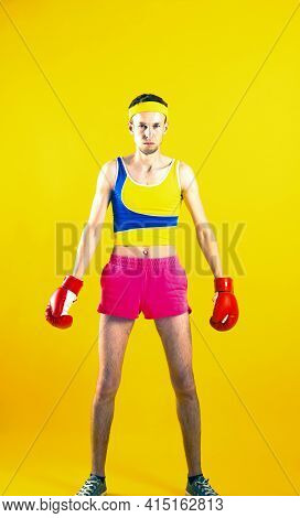 Comic Weak Fighter With Red Sport Boxing Gloves.