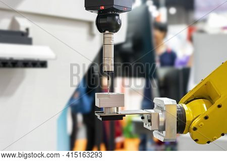 Automatic Coordinate Measurement Machine (cmm) During Inspection Precision Part Of Engine For Indust