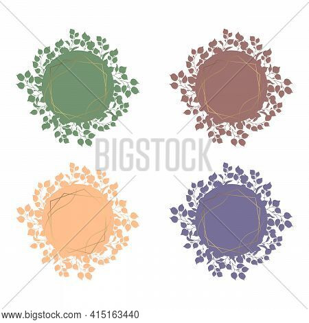 Set Of Eucalyptus Leaves, Selection Of Branches Vector Design Round Frame. Gold Frame. Cute Rustic W