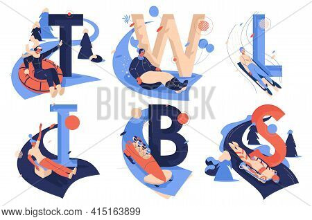 Letters Collection For Sledding Sport Activities. T For Tubing, W For Wok Racing, L For Luge, I For